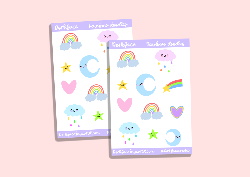 Image of Rainbow Doodle Stickers