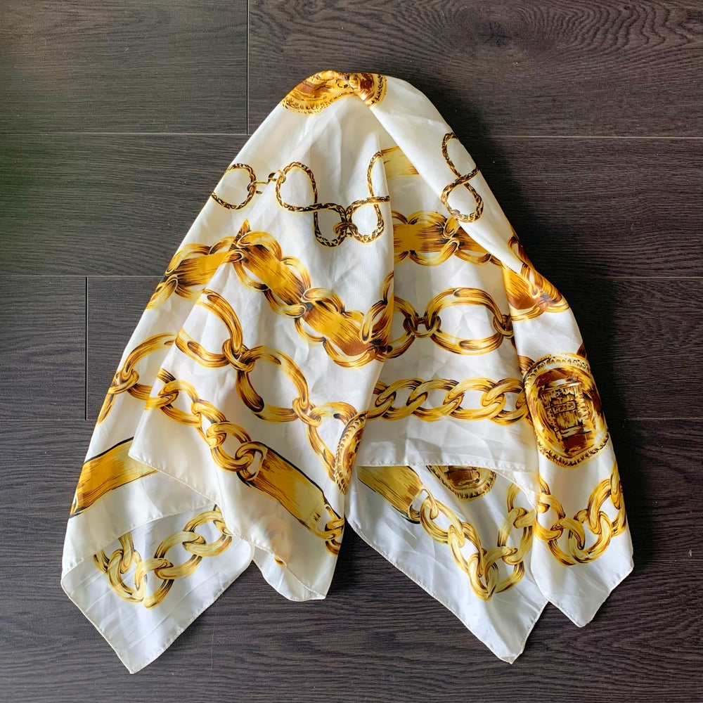 Image of Chains Silk Scarf White
