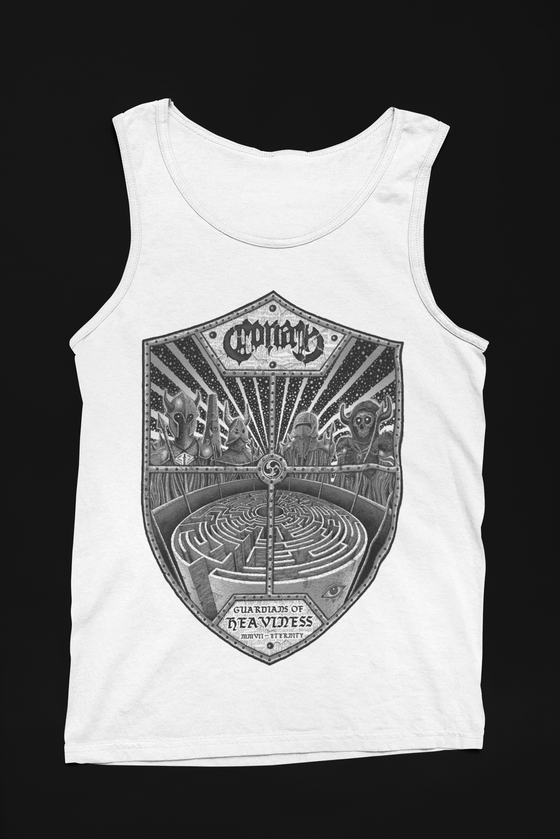 Image of Guardians Of Heavy White Tank Top w/ Black Print