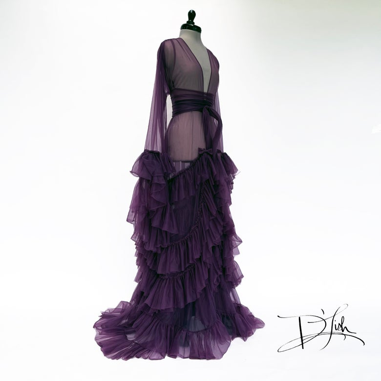 """Image of Plum """"Daphne"""" Sheer Dressing Gown"""