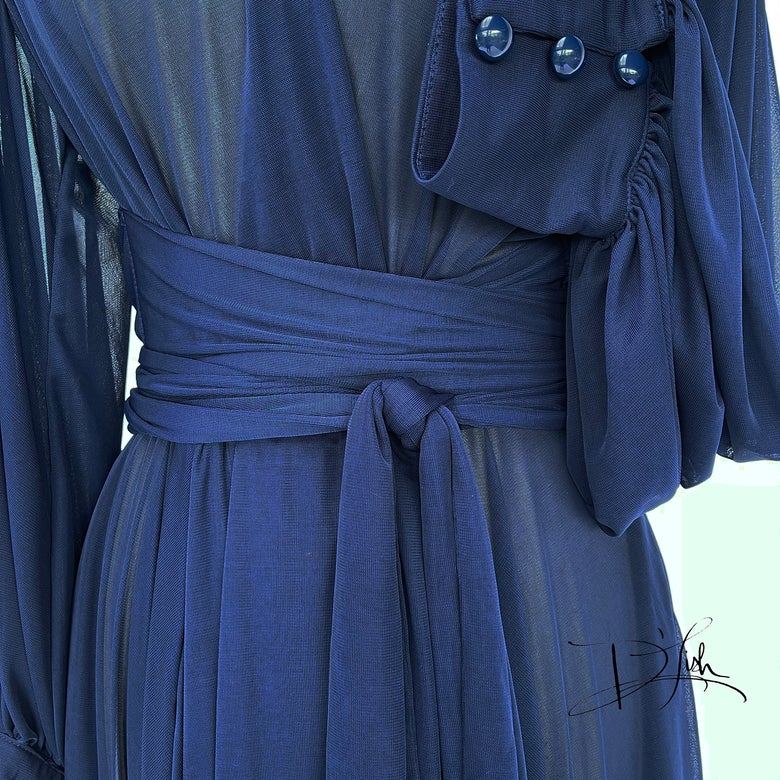 """Image of Navy Sheer """"Beverly"""" Dressing Gown"""
