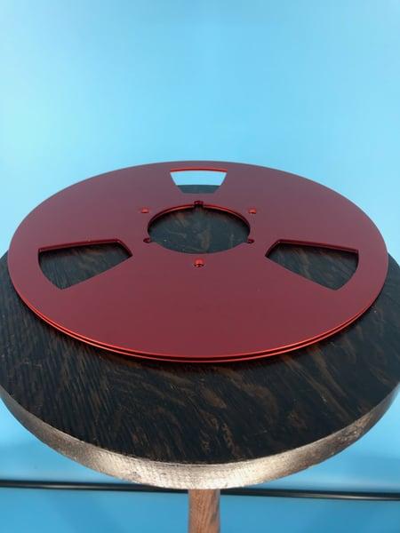 "Image of Burlington Recording *Scratched 10.5"" RED Aluminum NAB Metal Flanges with 1/4"" Hardware"