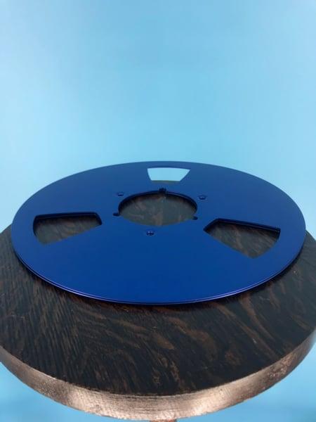 "Image of Burlington Recording *Scratched 10.5"" BLUE Aluminum NAB Metal Flanges with 1/4"" Hardware"