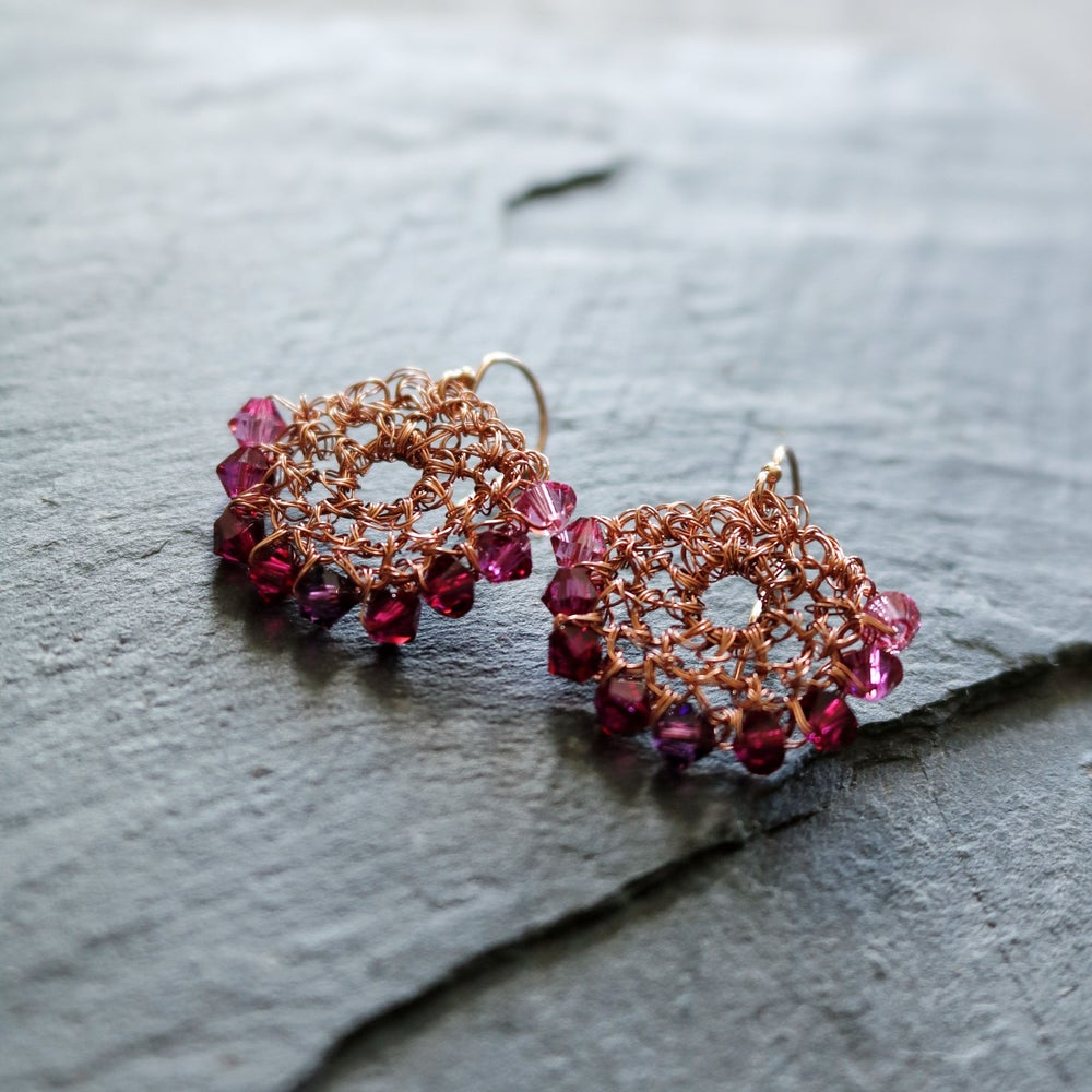 Image of CRESCENT  EARRINGS - Pink Fade