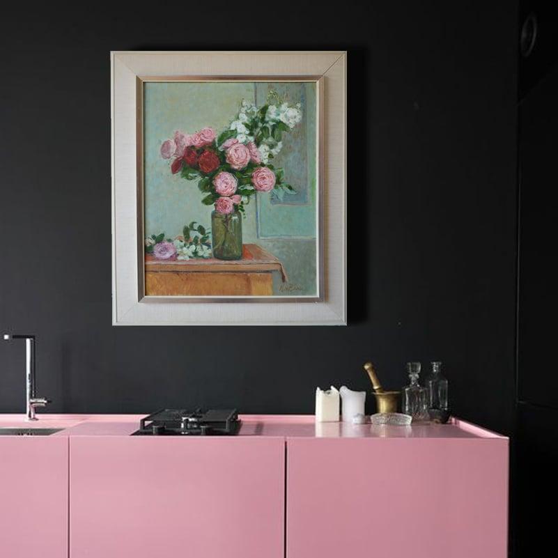 Image of Mid Century Dutch Still Life 'Roses' H M J (Hub) van Baar (1894-1982)