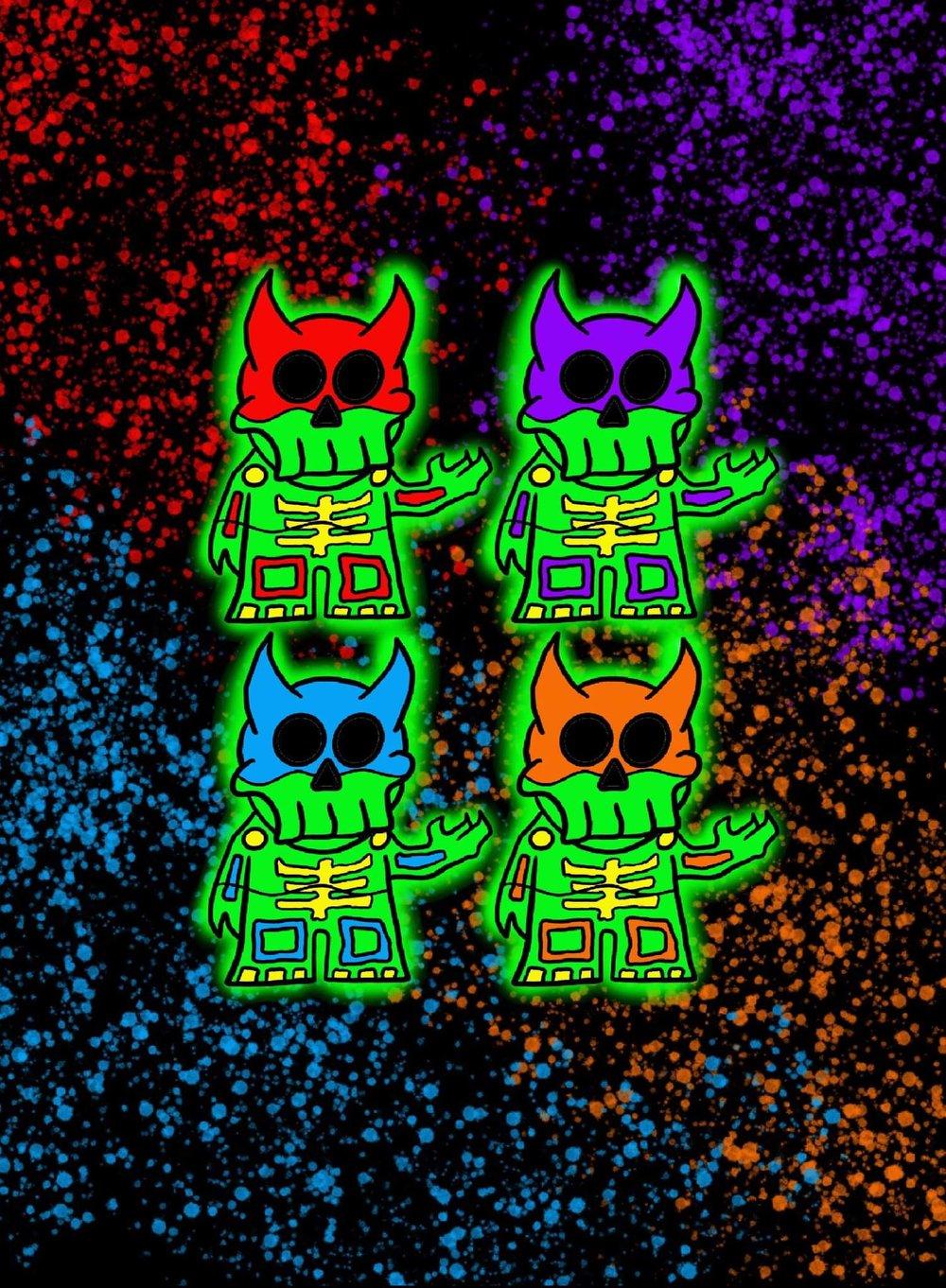 "Reaper Turtle (Full Glow) 1.75"" Enamel pin set (Pre-Order)"