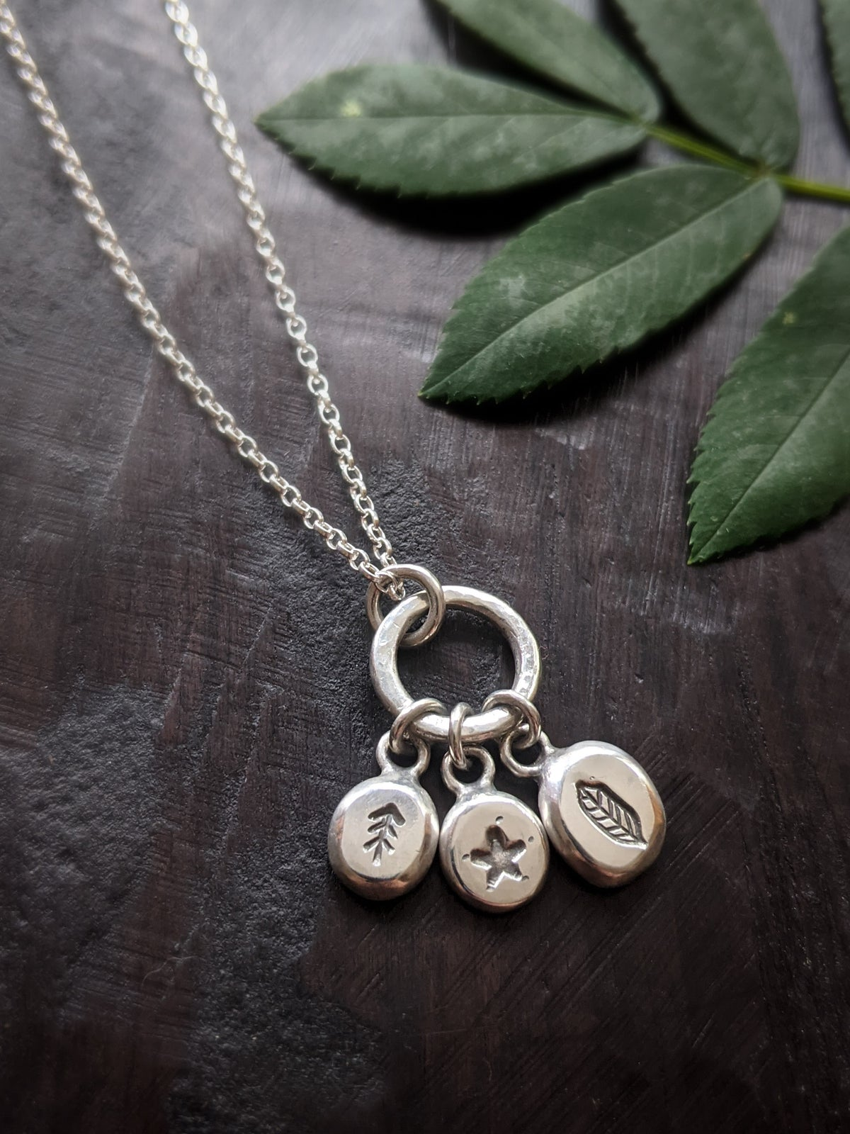 Into the Forest primal pebbles recycled silver pendant