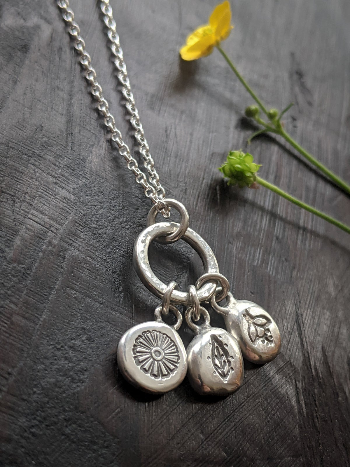 Into the Meadow primal pebbles recycled silver pendant