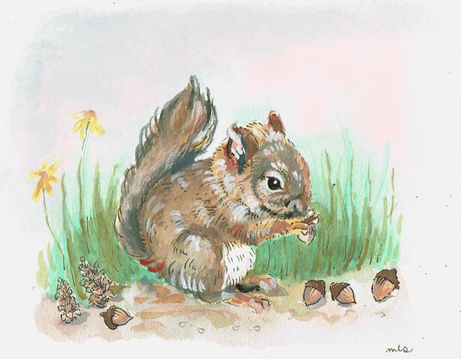 "Image of PRE ORDER 5x7"" Baby Squirrel"