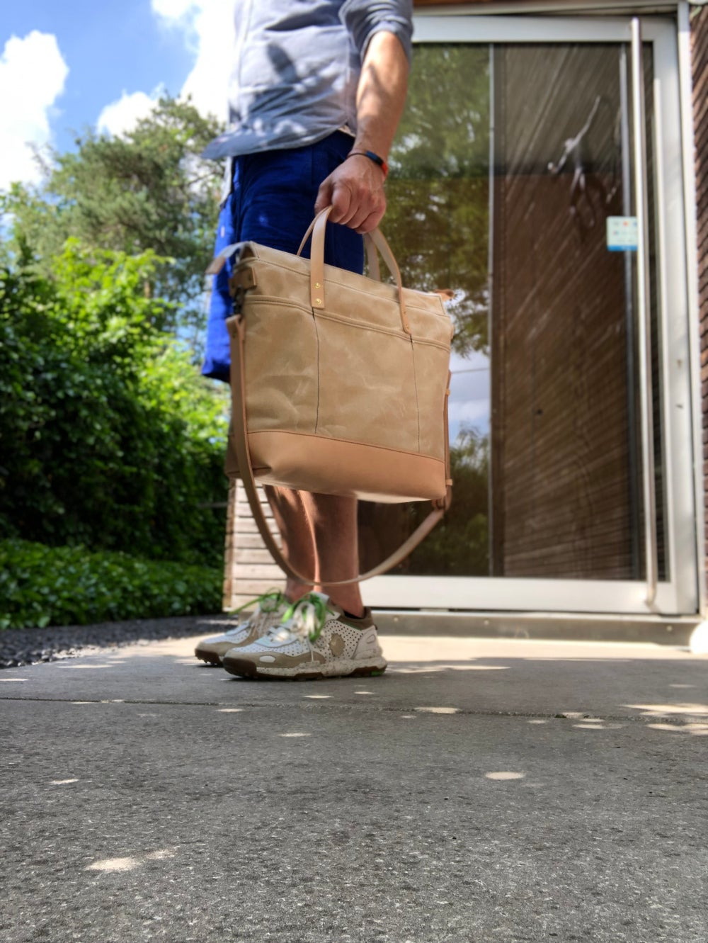 Image of Natural waxed canvas tote bag / office bag with luggage handle attachment leather handles and should