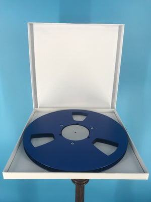 """Image of Burlington Recording 1/4"""" x 10.5"""" *Scratched BLUE NAB Metal Reel with White Hinged Set up Box NEW"""