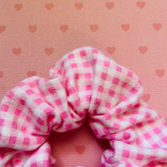 Image of Pink Gingham Flannel Scrunchie