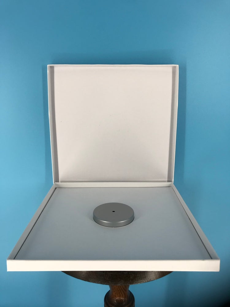 """Image of Burlington Recording Heavy Duty White Hinged *Dented/ Stained Set Up Boxes for 1/4"""" x 10.5"""" Reels"""