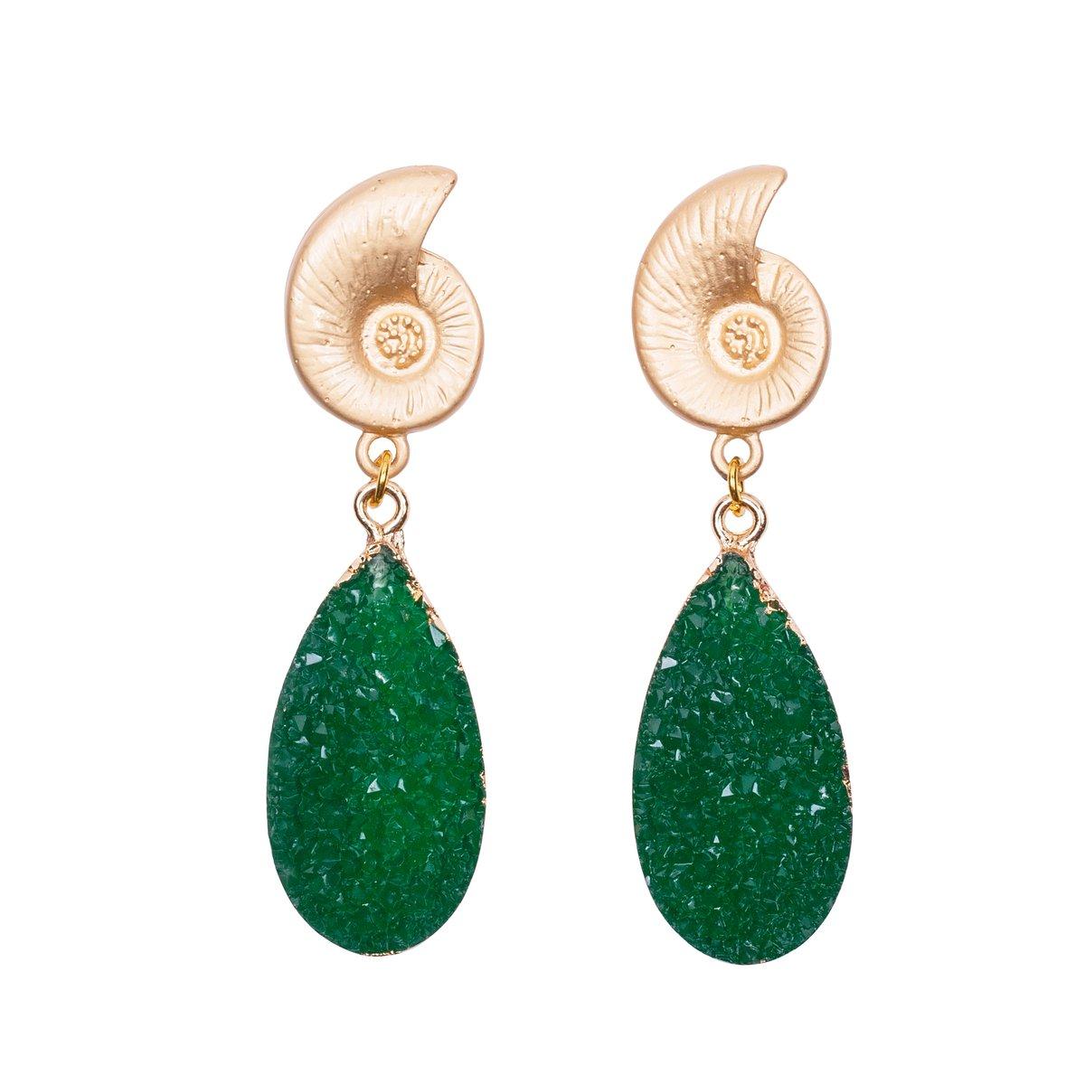 Emerald Shell Earrings