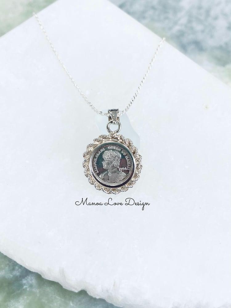 Image of .999 Silver Vintage queen Liliuokalani coin necklace