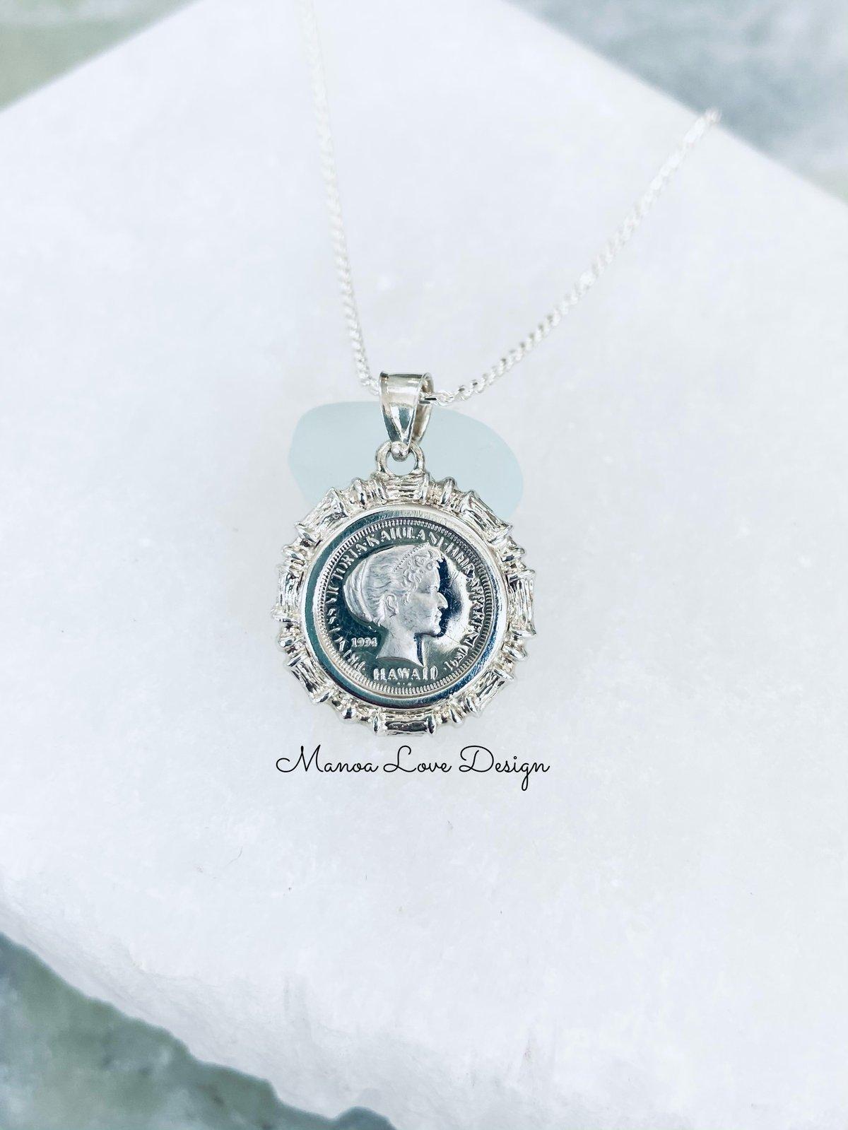 Image of .999 Silver Vintage princess kaiulani coin necklace