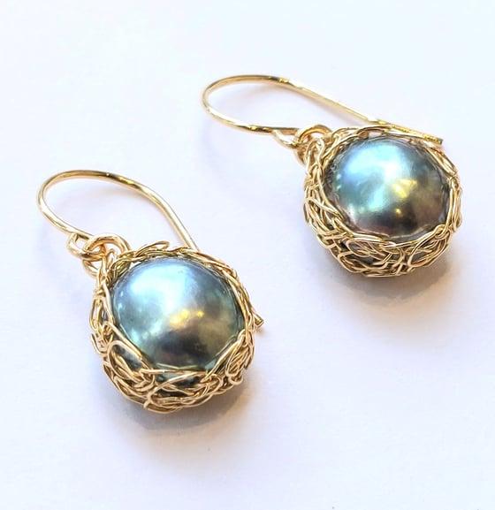 Image of Gold Crochet Peacock Pearl Earrings