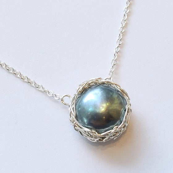 Image of Sterling Crochet Peacock Pearl Necklace