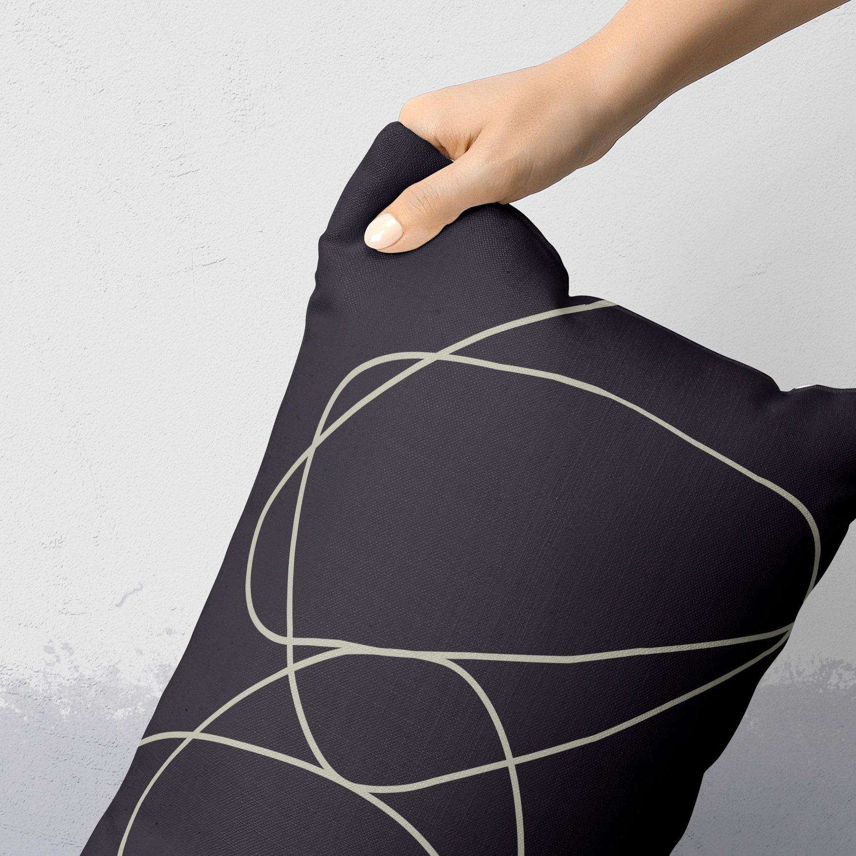 Image of Rock Garden No. 1 Rectangular Throw Pillow in Charcoal Gray