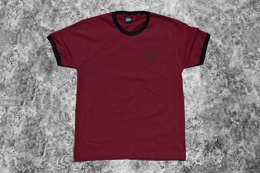 """Image of """"Hundred Hands"""" Burgundy Ringer T-Shirt"""
