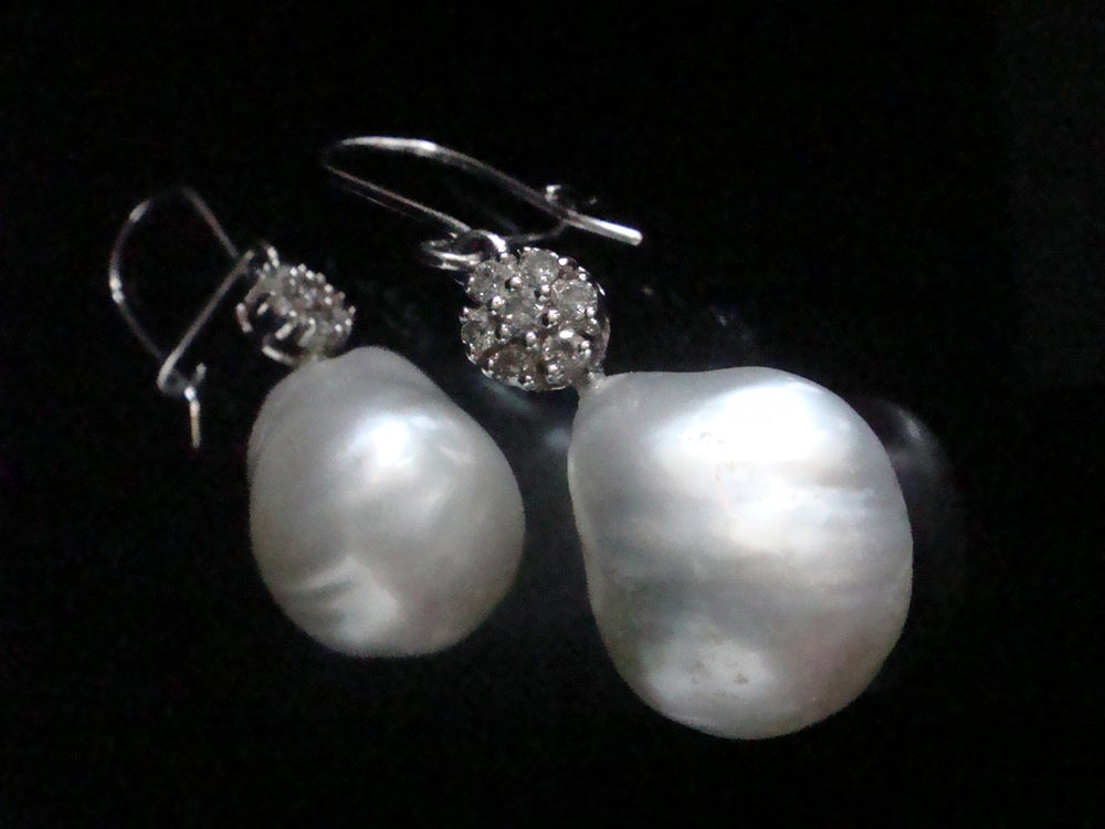 Image of SUPERB 18CT BAROQUE CULTURED PEARL DIAMOND DROP EARRINGS