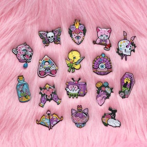 Image of CREEPY CUTE THEMED Mystery Seconds Pins - various designs - lucky dip enamel pins!
