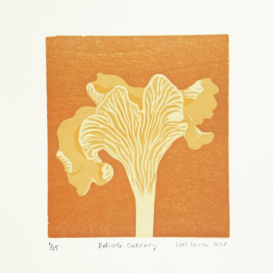 """Image of """"Delicate Delicacy"""" Chanterelle Woodcut Print"""