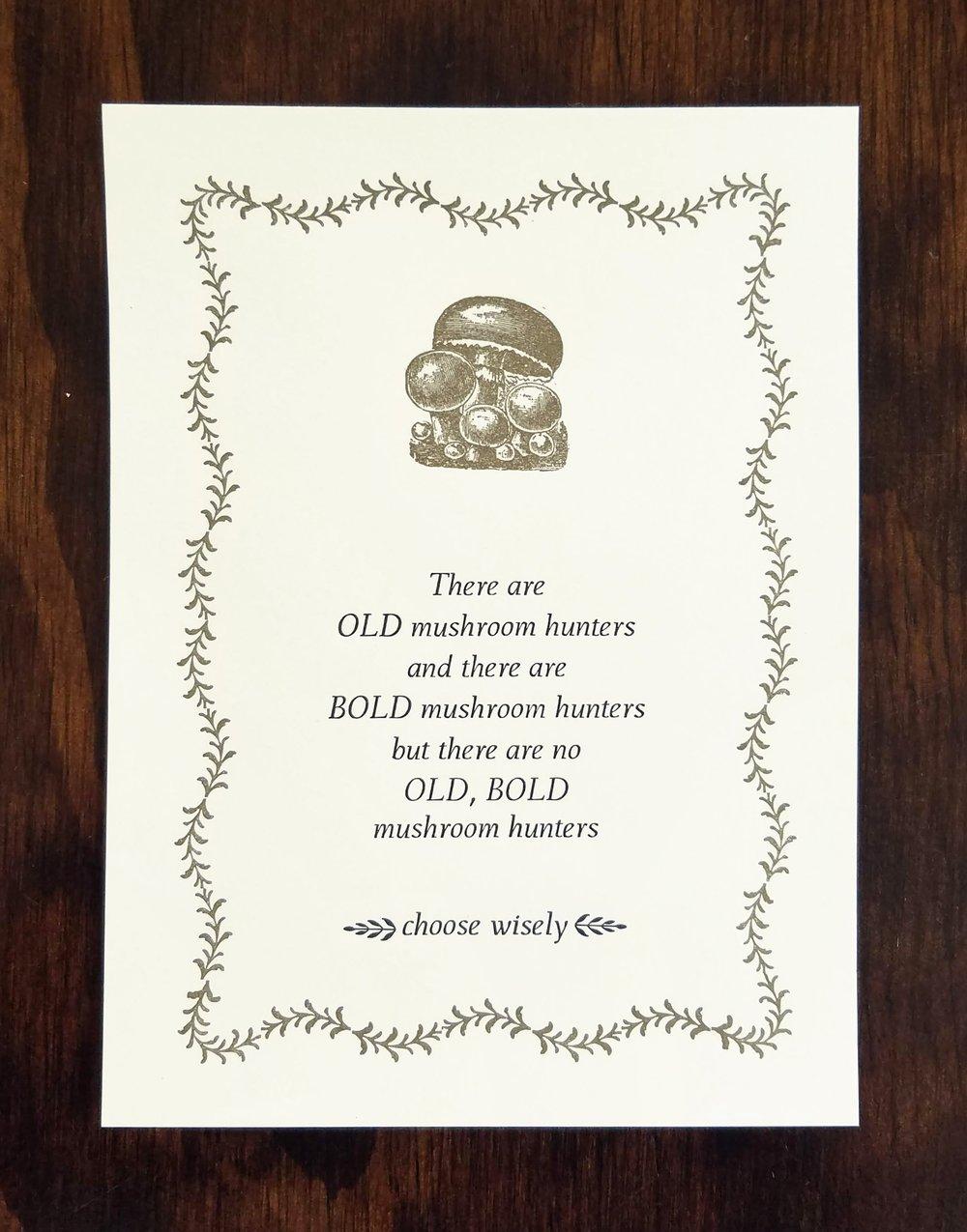 Image of Mushroom Hunters Letterpress Print