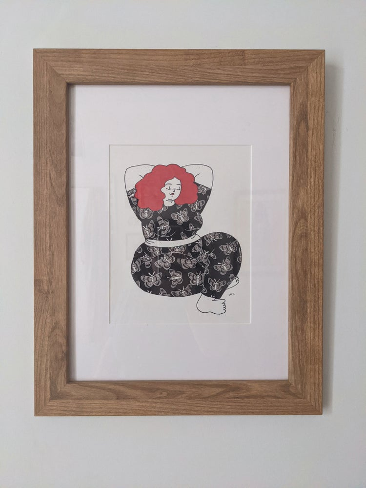 Image of HALIFAX PICKUP ONLY - Redhead with Moth Jumpsuit - original drawing