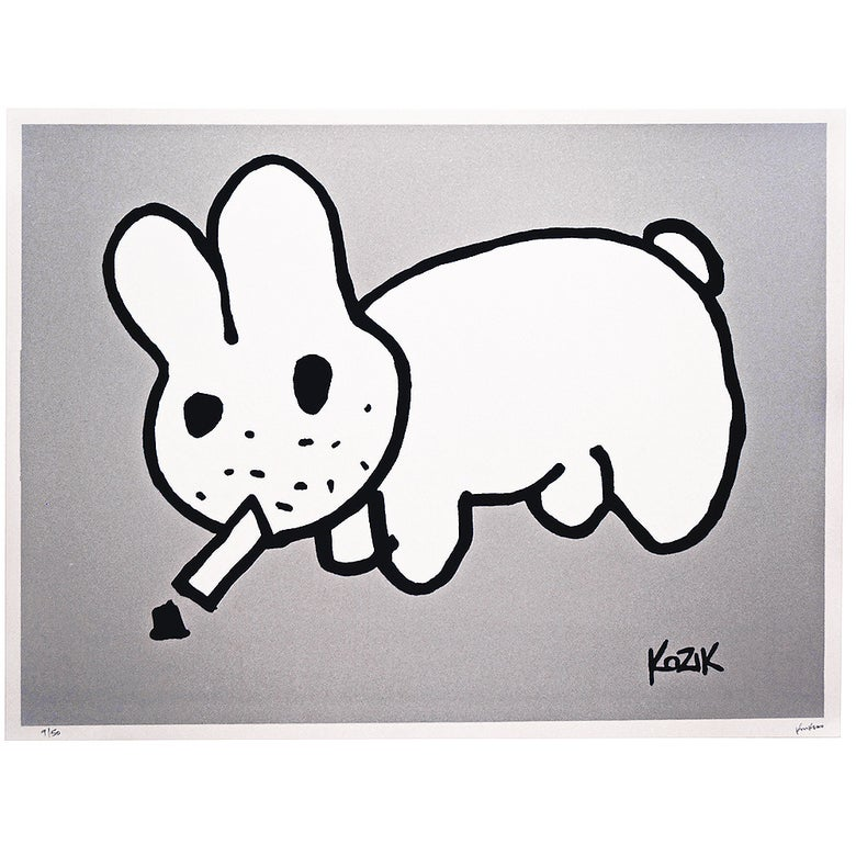 Image of Frank Kozik  ltd edition Smorkin Labbit - Metallic Silver flake