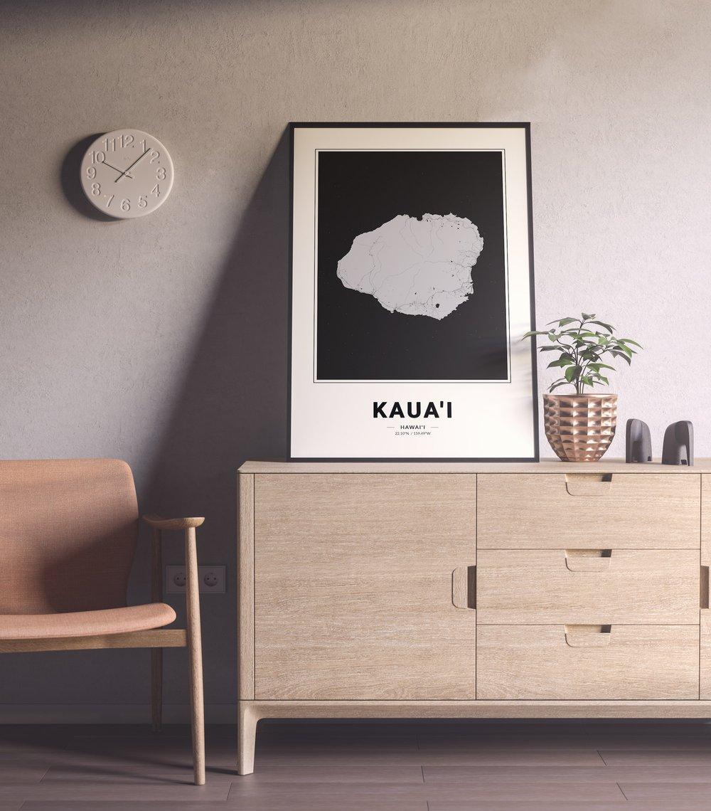 Kauai Island Map - Modern Black and White Hawaiian Islands Map Poster