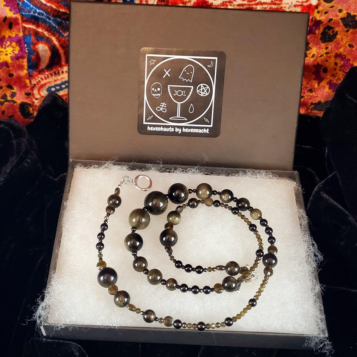 """Image of 21"""" golden obsidian, onyx, & black spinel short strand"""