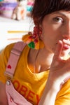 "Summertime - Grandes boucles festives brodées - fermoirs ""clips"""