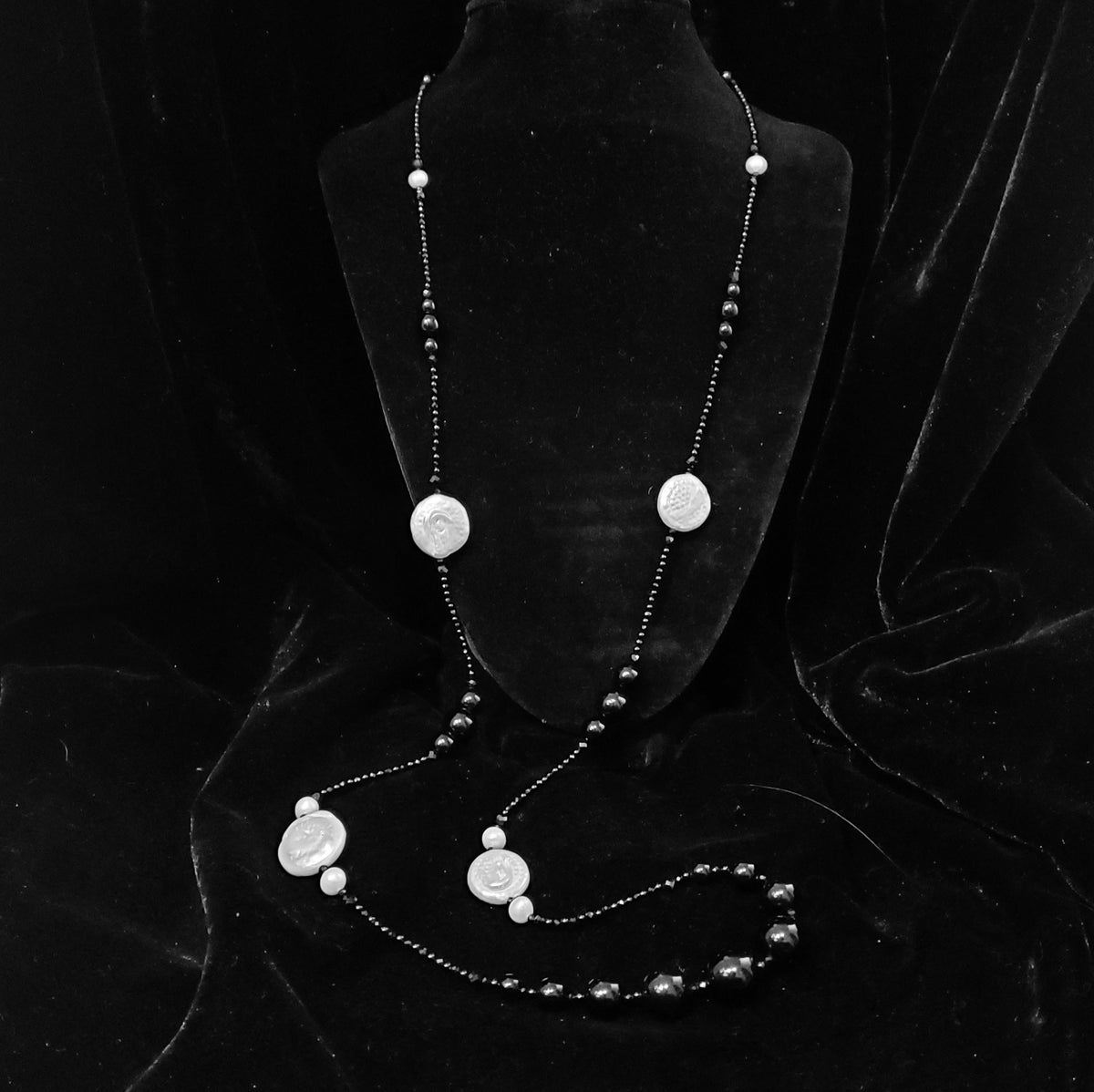 """Image of 38"""" onyx, black spinel, & pearl strand"""