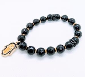 "Original ""Black Agate Faceted Stretch Bracelet"""