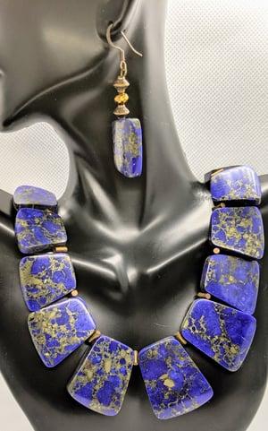 "Original ""Lapis Lazuli in Copper Dust Necklace Set"" Make A Statement!!!"