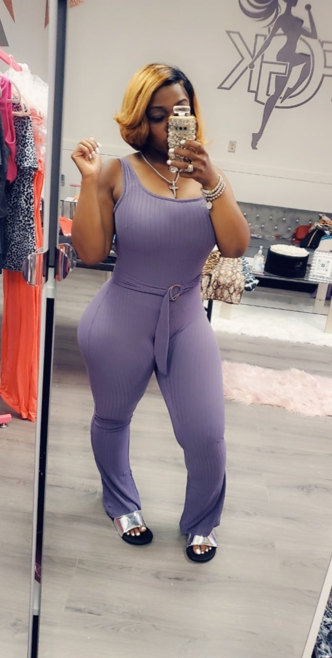Image of Light plum belted ribbed one piece