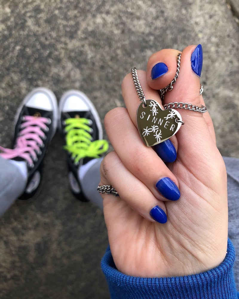 Image of SINNER STAMPED & ENGRAVED HEART PENDANT