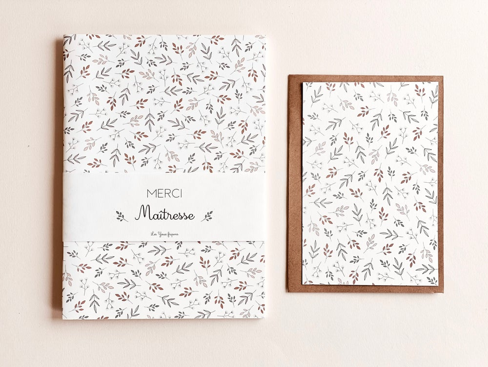 Image of Merci Maîtresse - carnet + carte imprimé feuillage