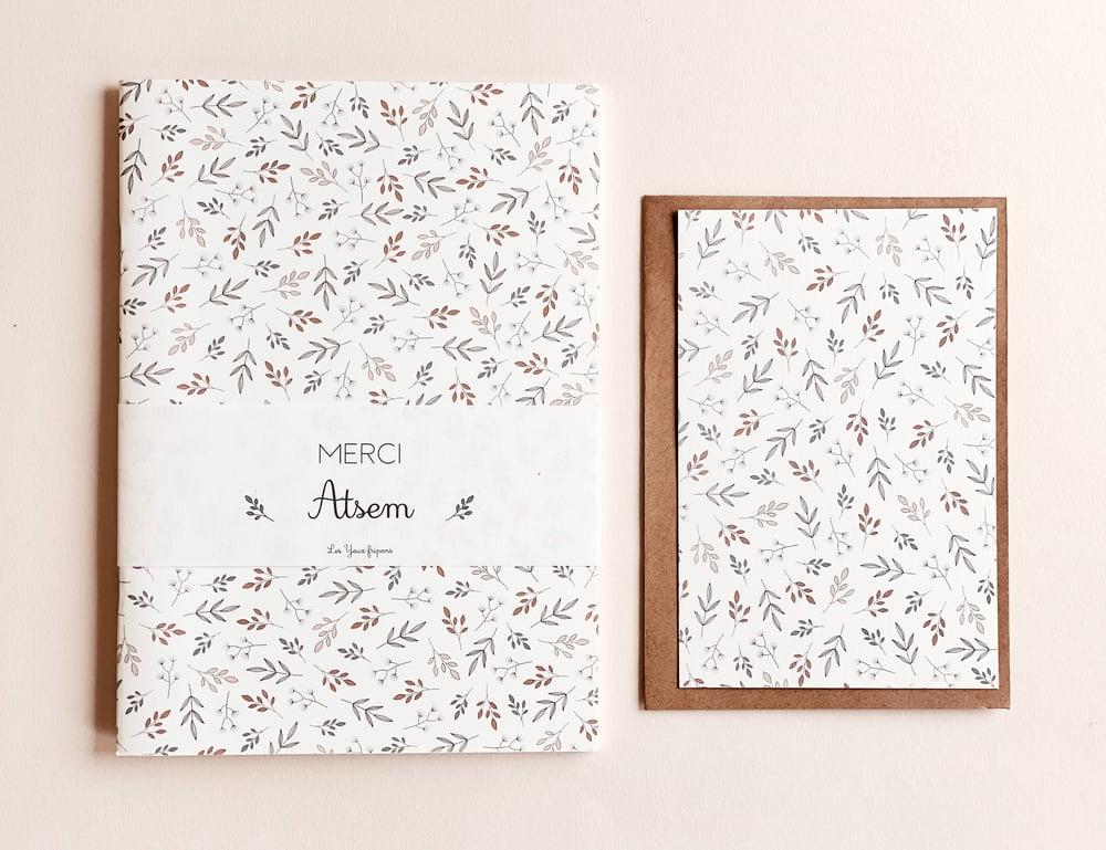 Image of Merci Atsem - carnet + carte imprimé feuillage
