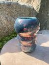 Turquoise bird inspired Raku vase