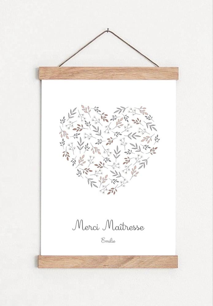 Image of Affiche Coeur - Merci Maîtresse