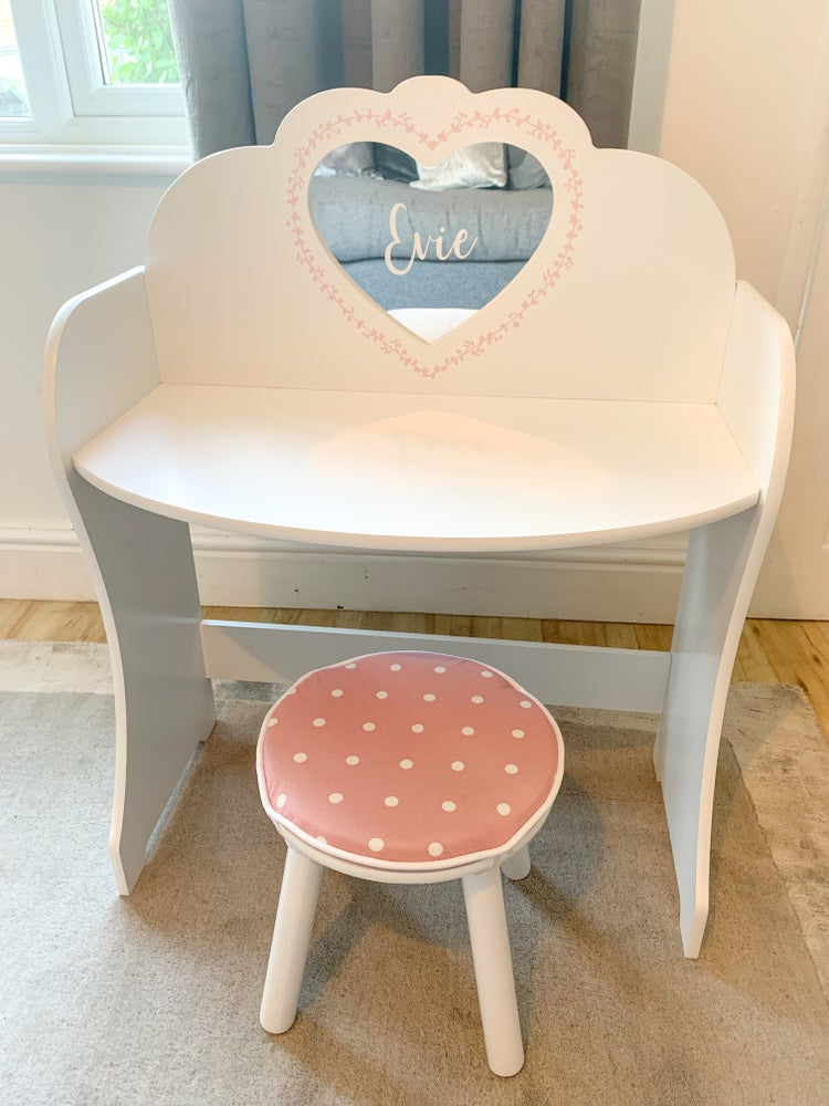 Image of Personalised Vanity Table & Cushioned Stool