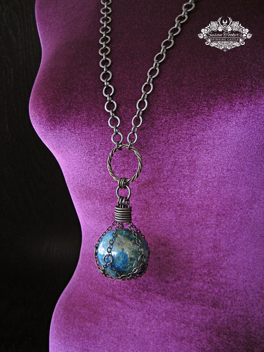 Image of THE GAIA STONE - Blue Apatite Crystal Ball Necklace Witch Talisman Gemstone Sphere