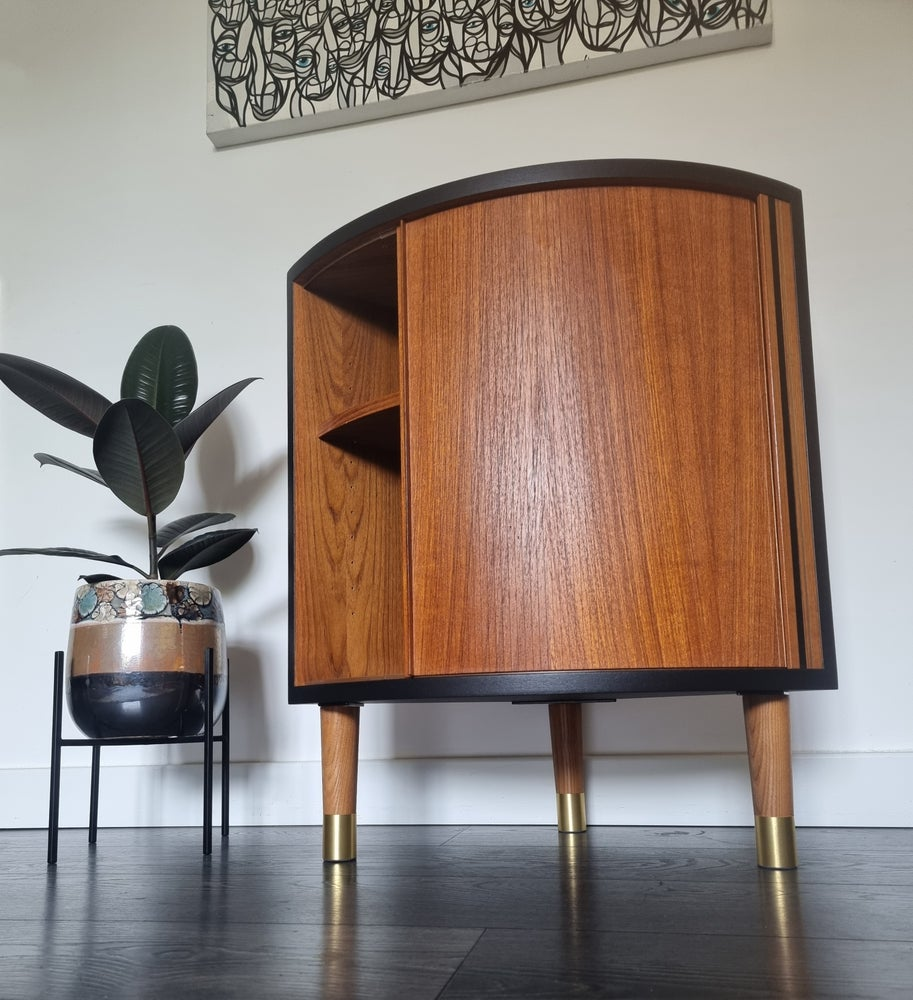 Image of 1960's TAMBOUR FRONTED CORNER CABINET BY POUL HUNDEVAD