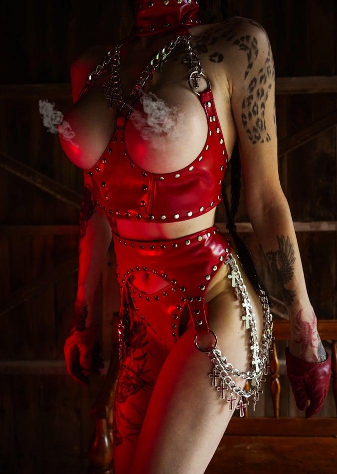 Image of Toxic Vision Sacrilege red lingerie set