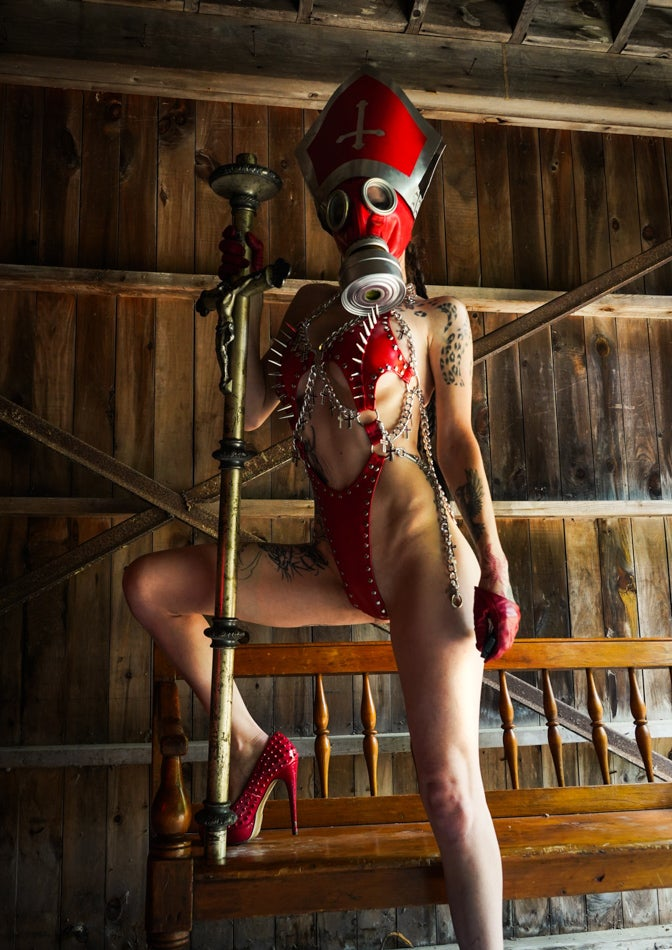 Image of Toxic Vision Sacrilege red bodysuit