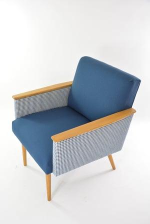 Image of Fauteuil carré bicolore bleu & PDP