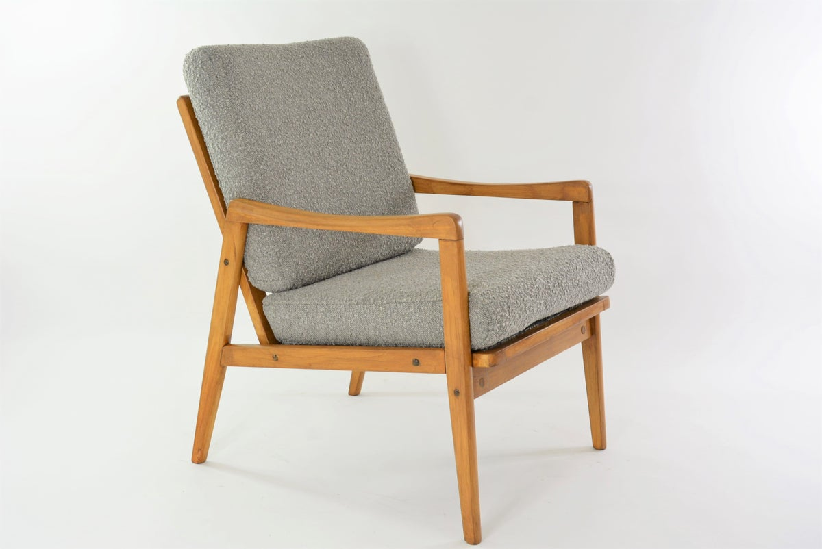 Image of Fauteuil type Boomerang bouclette grise