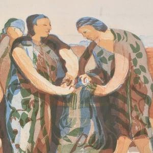 Image of Swedish Lithograph 'Washer Woman' Ivar Morsing  (1919 -2009)